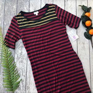 LuLaRoe Gray Red Mustard Striped Julia Dress